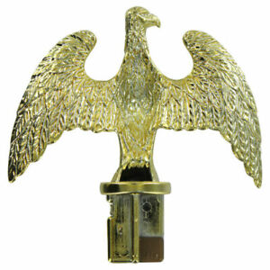 """Plastic Slip Fit Eagle For 1"""" ID Aluminum Flag Pole Brass Plated"""