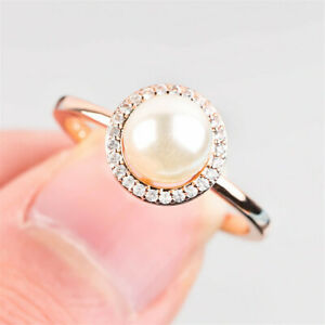 Gorgeous Women White Pearl Rose Gold Filled Rings Wedding Party Ring Size 6