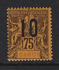 GABON : 1912 Wide Spacing surcharge 10 on 75c  brown/orange SG 75B mint