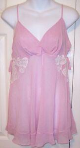 NWT Morgan Taylor Fantasies Sheer Pink Lingerie Babydoll Top Only, Small