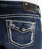 SILVER JEANS Skinny Mid Rise Aiko Faux Flap Jean 25 26 27 28 29 30 31 32 33 34