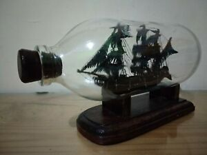 Cursed Flying Dutchman Ship in a Bottle Miniature Handmade Wooden