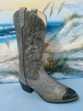 Men's Texas Gray Leather Western Boots  Model 1082  Black Toes 8.5 D