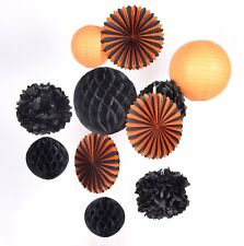 11pcs black orange paper lantern fan honeycomb for halloween Party Decoration