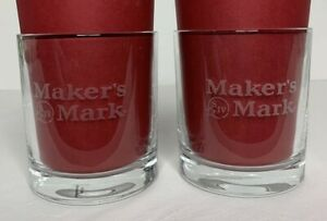 Makers Mark Etched Kentucky Bourbon Whiskey Two Low Ball Rocks Glasses 8 oz Gift