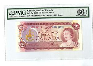 "1974 $2 BANK OF CANADA PMG 66 EPQ BC-47a BANKNOTE TWO DOLLAR  RARE PREFIX "" RR """