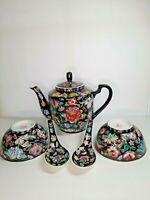Vintage Chinese Porcelain Jingdezhen 1000 flowers Teapot 2 set bowl and spoons