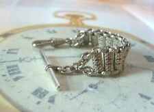Antique Pocket Watch Chain 1920s Silver Nickel Ornate Fancy Albert With T Bar