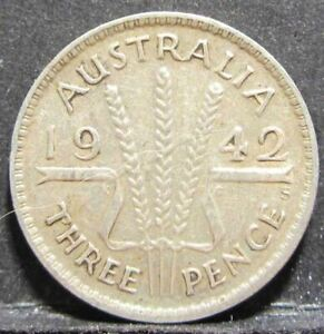 1942 S Australia 3d Threepence ** ERROR DIE CRACK ** #RB342s-4
