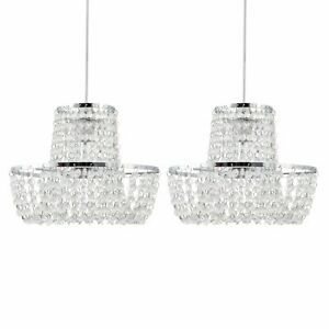 Set of 2 Chandelier Style Easy Fit Ceiling Light Shade Modern Pendant Shades
