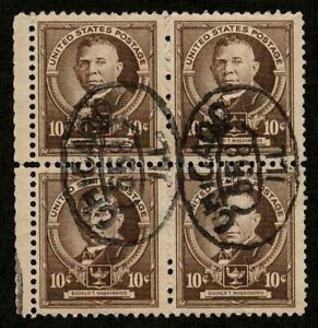 US 1940 #873 - 10c Booker T Washington Block of 4 Nice Chicago Cancels Used VF