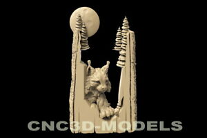 3D Model STL for CNC Router Carving Artcam Aspire Animal Bobcat Lynx Moon D118