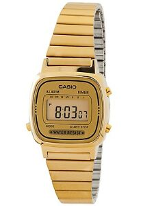 Casio LA670WGA-9 Ladies Gold Tone Stainless Steel Digital Retro Watch Gold Dial