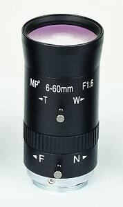 6 - 60 mm CCTV Camera CS mount Lens, manual iris, varifocal, mega pixel! MO0660V