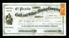 1864 Nevada City California El Picacho Gold & Silver Mining Co Stock Certificate