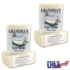 2-BARS of Grandmas Pure Natural Lye Soap Bar Unscented For Dry Skin