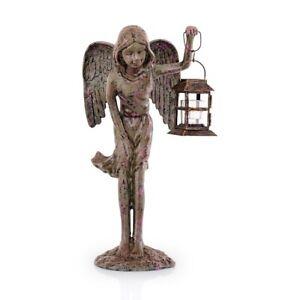 * Angel Sitting on Ball Dekofigur Cast Iron Green Decoration Garden Statue