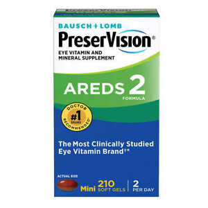 PRESERVISION Eye Vitamin & Mineral Supplement AREDS 2 Formula 210 SOFT GELS 2023