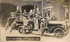 """On the Jump"" Firemen and Fire Truck Dormont Fire Dept. Dormont PA RP Postcard"