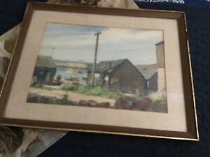 Signed Gordon Grant 1875-1962 Water Side Scene Print