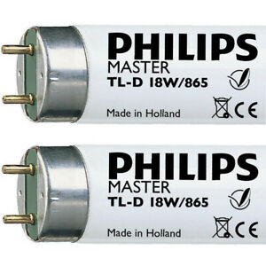 2 x 2ft 18w Flourescent Tube 865 Daylight 6500k Philips 18865 F18w 18w/865