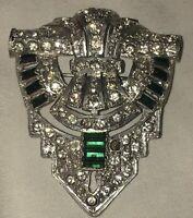 Vintage GREEN & Clear  RHINESTONE ART DECO Fur Sweater Dress Clip Brooch Pin