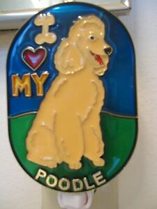 """STAINED GLASS STYLE """" BEIGE POODLE DOG""""  NIGHT LIGHT FOR EVERY ONE-UNIQUE/RARE!"""