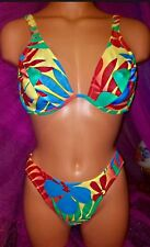 Venus Tropical Red Turquoise C D Underwire Sexy Swimsuit XS Bikini