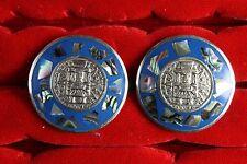 """Mexico 1 1/4"""" Dia A19 Vintage Cufflinks Alpaca (Nickel/Copper/Zinc) Made In"""