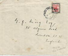 WADI HALFA CANCEL ON 1931 COVER TO GB WITH TPO CANCEL ON REVERSE  REF 1079
