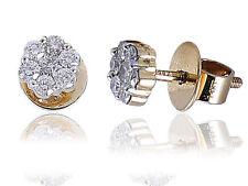 0.57 Cts Round Brilliant Cut Diamonds Pressure Setting Stud Earrings In 14K Gold