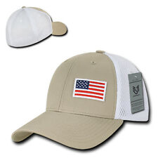 Khaki USA US American Flag Low Crown Structured Mesh Flex Baseball Fit Hat Cap