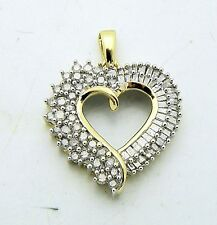 1 ct DIAMOND HEART PENDANT REAL SOLID 10 k GOLD 3.2 g