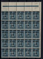 PP137637/ FRENCH MEMEL – VARIETY – MI # 61b - 61-II MINT MNH – BLOCK OF 25