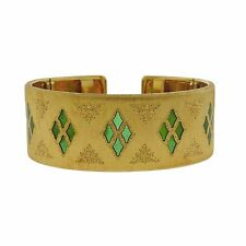 Mario Buccellati 18k Gold Plique-a-Jour Enamel Cuff Bracelet