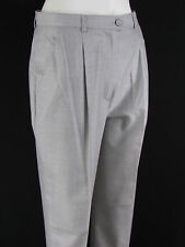 Escada Women Light Gray Silk Wool Classic Plaited Dress Pants Trousers 36 / US 2