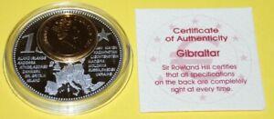 Gibraltar 1 Coin(gilded)+Medal 40mm, 31g, Proof Like + Zertifikat