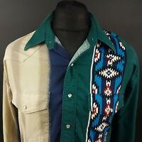 Wrangler Mens Vintage Western Shirt Pearl Snap Rodeo XL Long Sleeve Green