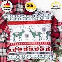 Kissenbezug 40x40 Baumwolle Winter Weihnachten Kissenhülle Grau Rot Rentier Deko