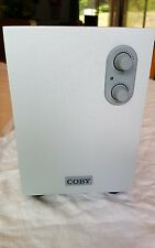 "Coby Model A-103C Small Silver Speaker 110v 60hz 4 8 Subwoofer 9"" Tall"