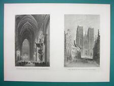 BELGIUM Brussels St. Gudule Church - 1880s Antique Print by BARTLETT
