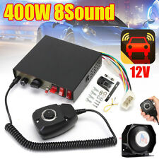 400W 8 Sound Loud Car Alarm Police Fire Warning Siren Horn PA Speaker MIC System