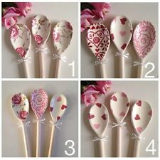 Emma Bridgewater Rose and Bee Hearts Pink Wallpaper Sampler Set 3 Wooden Spoons