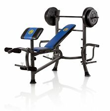 Marcy Standard Bench with 80 lb Weight Set with Butterfly Home Gym | MWB36780B