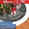 90cm Large Grey Plush Christmas Tree Skirt Mat Cover Home Party Gift Decor Xmas