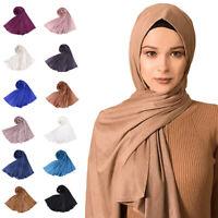 Muslim Women Maxi Scarf Plain Scarves Hijab Islamic Shawl Stole Wrap Headscarf
