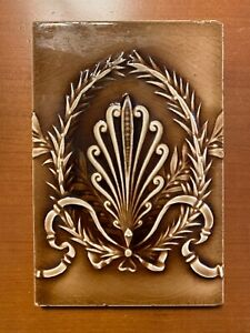 "Antique Providential Tile Works Art Nouveau Brown Ribbon Garland Motif 6 ""X 9"""