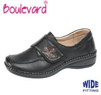 LADIES Leather Lined Adjustable Shoes Wide EEE Fitting  Black Size 3 4 5 6 7 8 9
