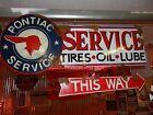 Antique style vintage look GM Pontiac dealer service station gas pump sign set