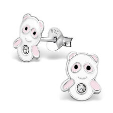 925 Sterling Silver Panda Crystal Stud Earrings Christmas Pink & White Kawaii